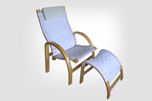 A1024 Jessi chair with footstool white